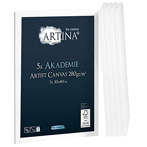 Artina Set da 5 Tele per Pittura Serie Akademie 30x40 cm - 280 g/m² - Tele intelaiate pronte per dipingere