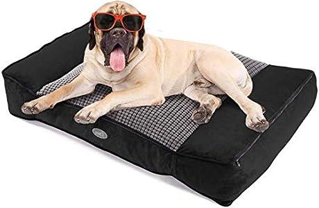 Pecute Camas para Perros Ortopédica Colchón Perro Colchoneta para Mascotas Usar en Ambos Lados Cojines para Perreras Casetas para Perros Grandes Lavable Suave Desenfundable (L, Negro)