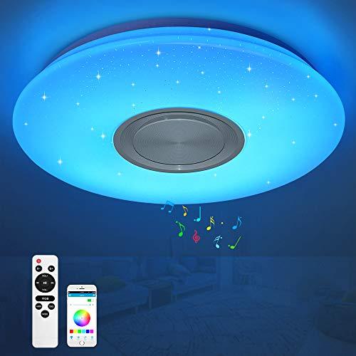 LED Deckenleuchte 24W mit Bluetooth Lautsprecher, Music Deckenlampe dimmbar mit Fernbedienung/APP-Steuerung, RGB Farbwechsel , Sternenhimmeleffekt Smart Musik Lampe