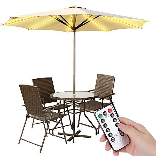 Luces LED impermeables para sombrilla de patio, funciona con pilas, con mando a distancia, 8 modos de brillo, 104 luces LED para exteriores