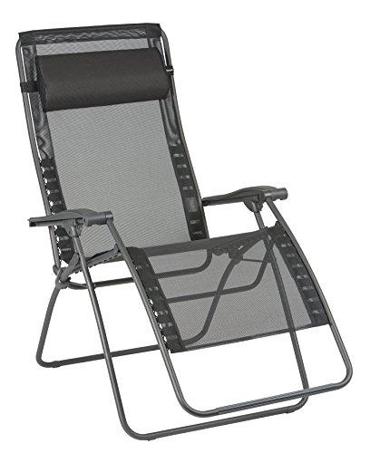 Lafuma Großer Relax-Liegestuhl, Klappbar und verstellbar, RSXA Clip XL, Batyline, Schwarz, LFM2040-8551
