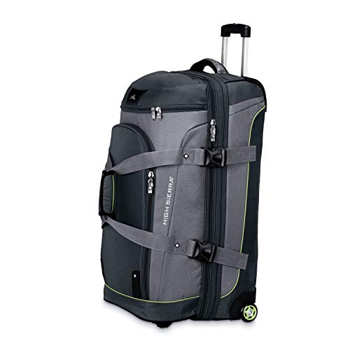 High Sierra AT3 32-inch Drop Bottom Wheeled Duffel, 3-in-1 Rolling Duffel Bag, Graphite/Titanium/Spring