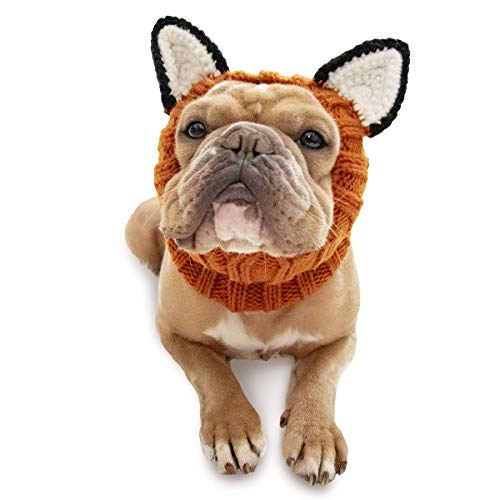 Zoo Snoods Fox Dog Costume - Neck and Ear Warmer Hood for Pets (Medium)