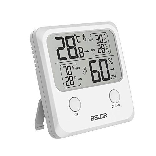 SINZON Thermometer/Hygrometer für den Innenbereich, Digitale Luftfeuchtigkeit, °C/°Umschaltbar, Speicher Max/Min, Anzeige des Komfortniveaus, 3 Fächer zur Verwendung im Haus – Weiß