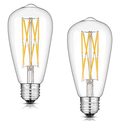ST64 12W Antico Edison Filamento Lampadina LED,4000K Bianco Freddo 1000 Lumens,100W Equivalente Attacco Vite E27,360° Angolazione Fascio Luce,Non Dimmerabile,Confezione da 2