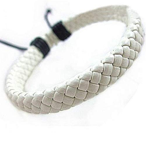 Pulsera Brazalete, Joyeria Regalo, 1Pcs Punk Black/Brown/White/Yellow Braided Leather Bracelet Bangle Male Accessories Homme Jewelry Black Color Leather Bracelets WT