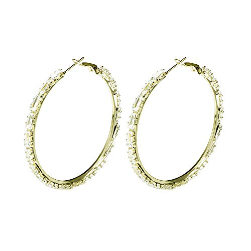 Yumay 9ct Gold Filled Hoop Creole Earrings with Cubic Zirconia for Women(40MM).