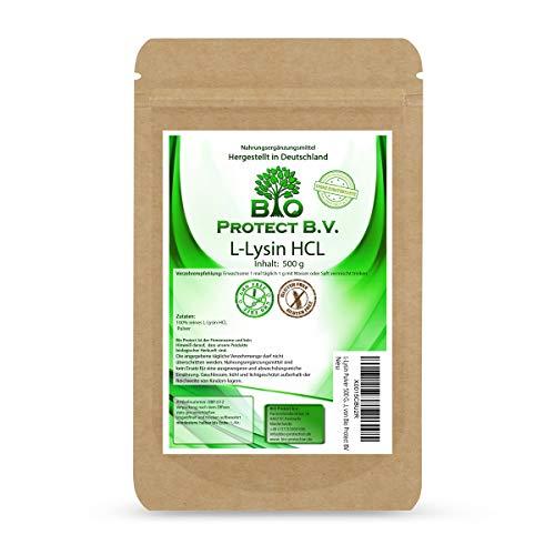 L-Lysin Pulver 500 Gramm ohne Zusatzstoffe - 100% rein und ohne Magnesiumstearat - L-Lysin bei Herpes - Lysin HCL von Bio Protect BV