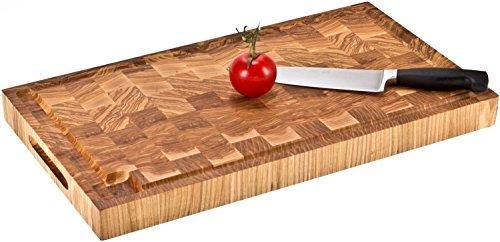 Profi Holz Hackblock - massives Hackbrett, Schneidebrett, Tranchierbrett, Küchenbrett 54 cm x 30 cm Eiche Stirnholz - gegen Aufpreis mit Lasergravur möglich - bekannt aus Hensslers Küche Holz