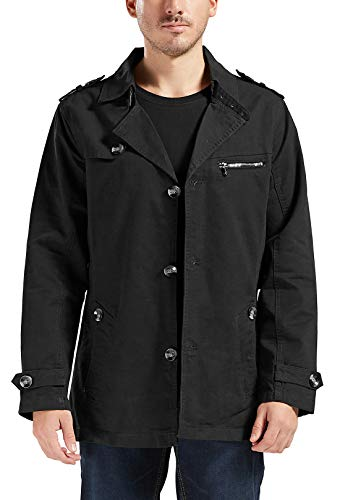 Trimthread Men's Gentle Wear Single Breasted Mid-Length Cotton Lightweight Trench Coat (Medium, Black)