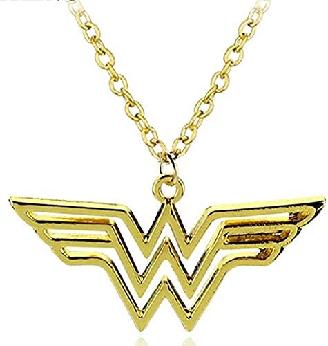 Collar para Mujer Hombre DC Superhéroe Wonder Woman Collar Gargantilla dorada Logo de Supergirl Collares pendientes para mujer Joyería de moda Accesorios para dijes Collar colgante Chica Niño Regalo