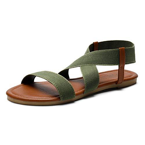 SANDALUP Women#039s Elastic Flat Sandals Khaki Green 08
