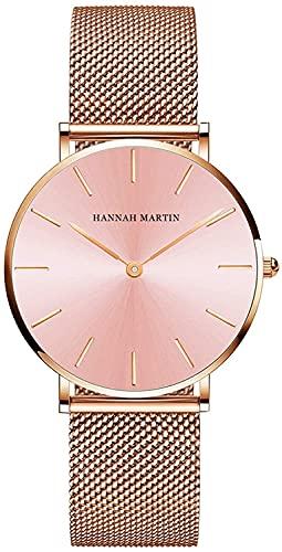 QHG Relojes para Mujeres Malla de Oro Correa de Acero Inoxidable Reloj de Pulsera a Prueba de Agua Ocasional para Damas con Esfera Redonda Verde/Rosa (Color : Pink)