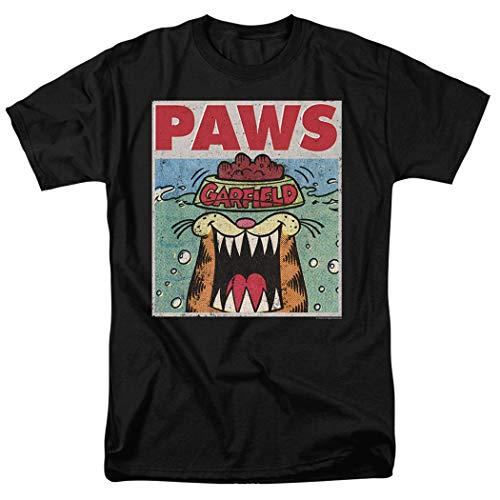 Garfield Paws Jaws Parody T Shirt & Stickers (Large) Black
