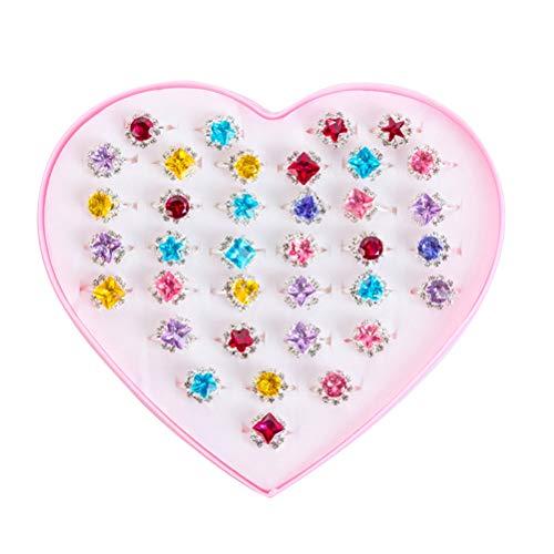 36pcs Juguetes para niños Anillos de Diamantes Joyería Princesa Girl Jewel Rings en Caja Juegos de imaginación y Viste a los Anillos (Patrón Mixto)