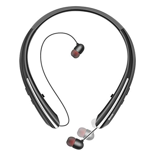 Bluetooth Headphones, Bluenin Neckband Wireless Bluetooth 5.0 Headset with Retractable Earbuds Hi-Fi Stereo Sound Noise Cancelling Earphones with Mic, Sweatproof Call Vibrate Alert (Black)