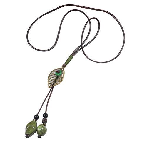 BESTOYARD Collar de cuentas de cerámica Hoja de cuero Suéter largo Cadena Collares Colgantes