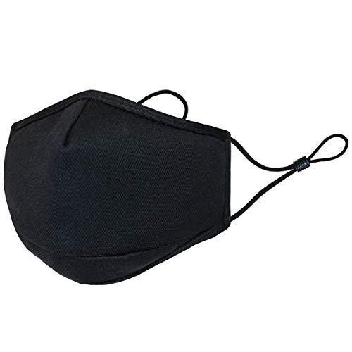 3 Layer Reusable Fashion Protective, Facial Protection Filtration 95%, Unisex Black Dust Cotton, Washable, Reusable Cotton Fabric (Black, Small-1pack)