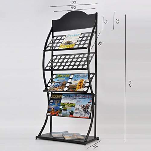 Kelly' Harvest House Zeitschriften und Broschüren Stehen Literatur Display-Ständer mit 4 Regalen Boden stehend Magazin Broschüre Halter Rack, schwarz (Farbe : F)
