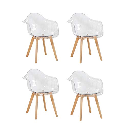 H.J WeDoo Pack de 4 Sillas Transparente Silla de Comedor Silla escandinava, Policarbonato Sillón Mo