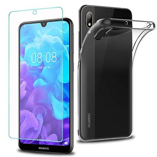 Wanxideng - Funda para Huawei Y5 2019 + Protectores de Pantalla in Cristal Templado, Carcasa Suave Delgado Claro Funda de Silicona TPU - Transparente