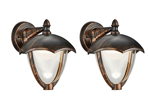 Set van 2 LED-buitenwandlampen GRACHT in antiek roestkleurig, buitenverlichting IP54, Trio lampen
