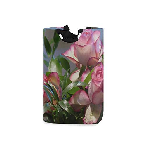 Girly Canasta de lavandería Rose Ecuador Rose Pink Flor decorativa Bloom Linda canasta de ropa sucia Lindas cestas para lavandería 11 X 12.6 X 22.7 Pulgadas Tela Oxford plegable Organizador de juguete
