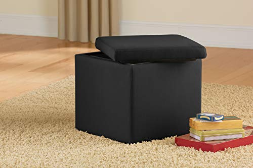 Urban Shop Microsuede Storage Ottoman, 15'x15'x15', Black