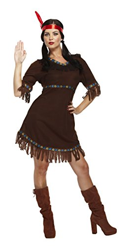 Adult Ladies Sexy Native American, Red Indian Squaw Lady Fancy Dress. One Size Pocahontas style Costume But Usually Fits Sizes 8, 10, 12 And 14. Perfect for any Movie or Cowboys and Indians Themed Fancy Dress Event. (disfraz)