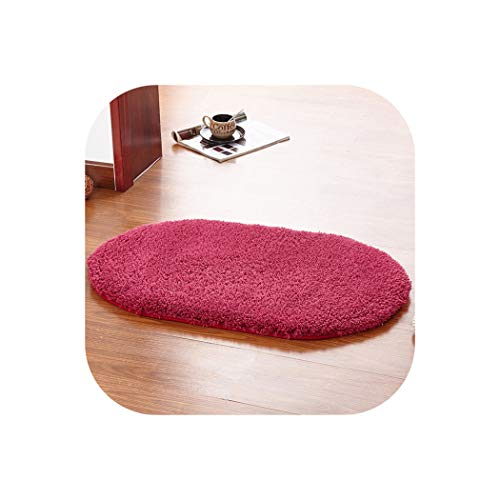 1 Pcs 40x60cm Bathroom Carpets Absorbent Soft Polyester Fiber Doormat Floor Rugs Home Oval Non Slip Bath Mats Plain Rug,Wine Red