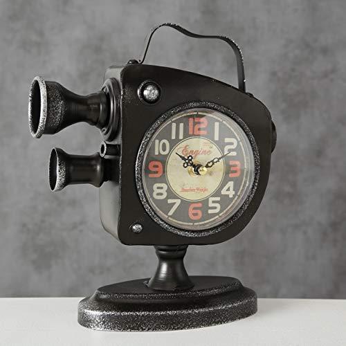 Tamia-Home Uhr Tischuhr Deko Filmkarmera H25cm Eisen schwarz