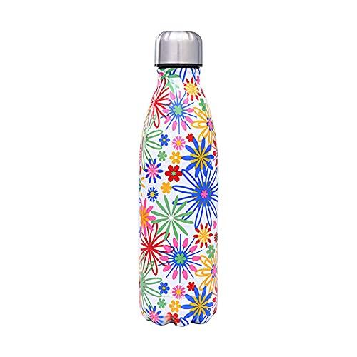 mingtian Botella de Agua Floral de 500 ML, Frasco de Acero Inoxidable, Grabado con láser, Nombre, Termo, Botella de Bebida, Gimnasio, Deporte, agitador, Taza de café 23