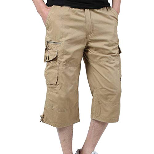 BYSTE_Uomo Attrezzature per arbitri e Allenatori,Pantaloncini da Portiere da Calcio,Pantaloni Uomo Elegante Slim Fit,Cachi,XXXL