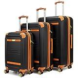 19V69 Italia Vintage Expandable Spinner Luggage 3 Piece Set (Nero Black)