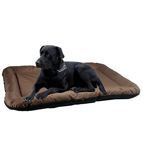 Smartweb Festes Hundebett 100 x 70 x 10cm Wasserabweisend für Außen und Innen in Braun Hundekorb Hundesofa große Hunde