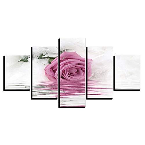 Preisvergleich Produktbild DAIZHJ Für Wohnzimmer Dekoration Wandkunstwerk 5 Stücke Leinwand Malerei Rosa Rose HD Drucken Abstrakte Poster Bild