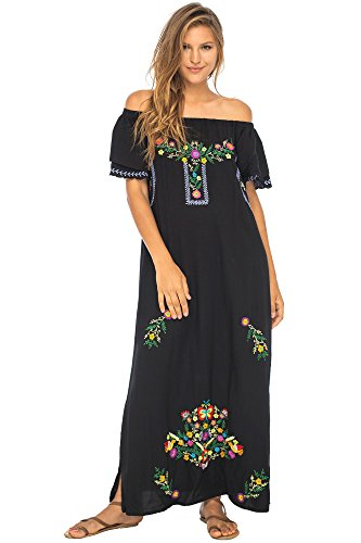 Back From Bali Womens Long Mexican Embroidered Dress, Maxi Long Summer Peasant Dresses for Women Off The Shoulder Black Large