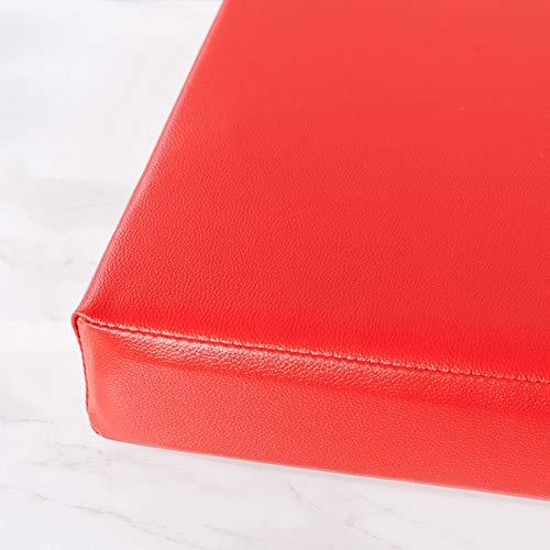 ZZFF Cojín De Banco Interior Al Aire Libre,Waterproof PU Cuero Settee Cushion,Color Sólido Espesan Rectángulo Personalizable Esponja Cojín De Asiento Rojo 90x30x5cm(35x12x2inch)