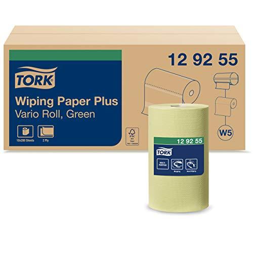 Tork 129255 Starke Mehrzweck Papierwischtücher für das W5 Kleinrollen Spendersystem / 2-lagiges stabiles Papier, 23 cm x 27.5 cm, Grün (10-er Pack)