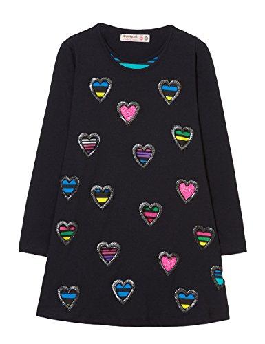 Desigual Vest_Baton Vestido, (Negro 2000), 104 (Talla del Fabricante: 3/4) para Niñas