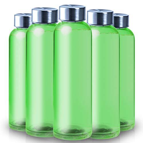 ShyaWorld Botella De Cristal para Agua Cuerpo de Acabado Transparente Tapón a Rosca en Acero Inoxidable. Cajas Individuales por Botella. (Verde, 500ml (1PCS))