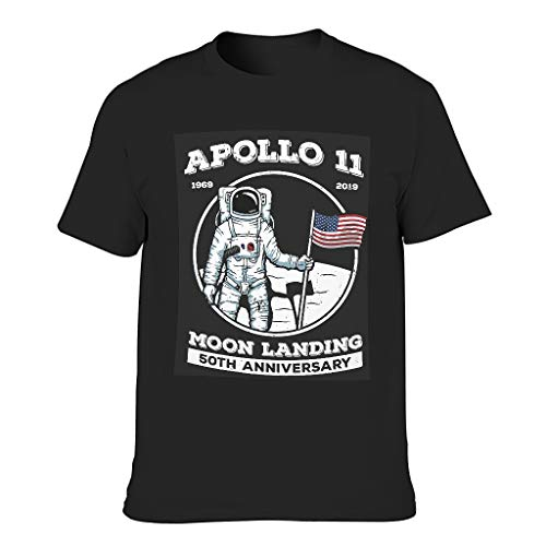 Ouniaodao Men's Astronaut Apollo 11 50th Anniversary Cotton T-Shirt - NASA Summer Leisure Shirt Black l