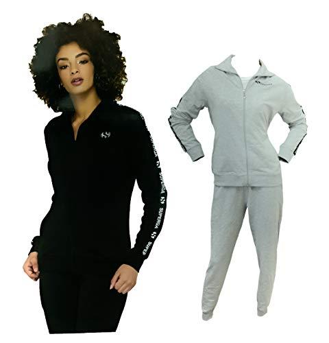 SUPERGA Chándal para mujer de verano, chaqueta y pantalón de sudadera, chándal de mujer deportivo (21600 gris, L)