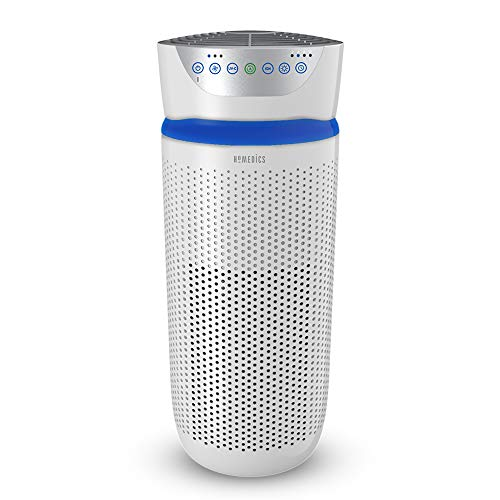 HoMedics TotalClean 5 in 1 Tower Air Purifier with UV-C, HEPA & Carbon Filters, Removes Allergens, Pet Dander, Smoke, Cooking, Mould Spores & Germs, Ionizer Releases Negative Ions - Large, White