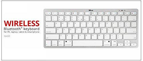 Trust Nado Ultra Slim Kabellose Bluetooth Tastatur (für alle iOS, Android, MAC und Windows Geräte, QWERTZ Deutsches Tastaturlayout)