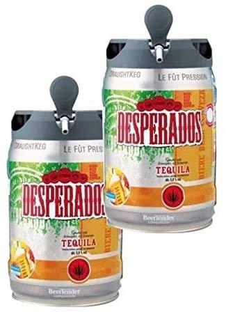 Les5CAVES - Packs 2 fûts DESPERADOS - Fût de bière Blonde Téquila - Compatible Beertender - 2 x 5 L - Lot de 2 CompatIble Beertender - 5L - Lot de 2