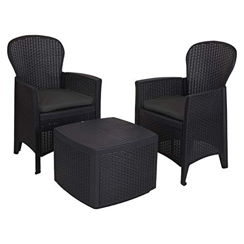 idooka – Small Tea for Two Bistro Set – Round Backed 2x Chair & Table Patio Set for Balcony, Conservatory or Garden with Cushions – Durable, Compact Size Rattan/Wicker Effect Furniture – Black