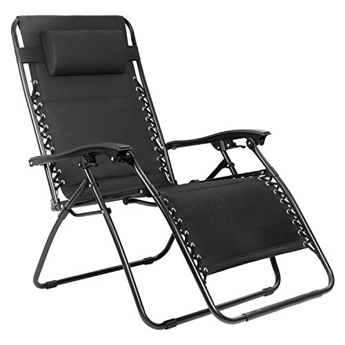 Flamaker Zero Gravity Chair Oversized Padded Patio Adjustable Recliner Outdoor Lounger Chair with Headrest for Poolside, Yard and Camping (Black)