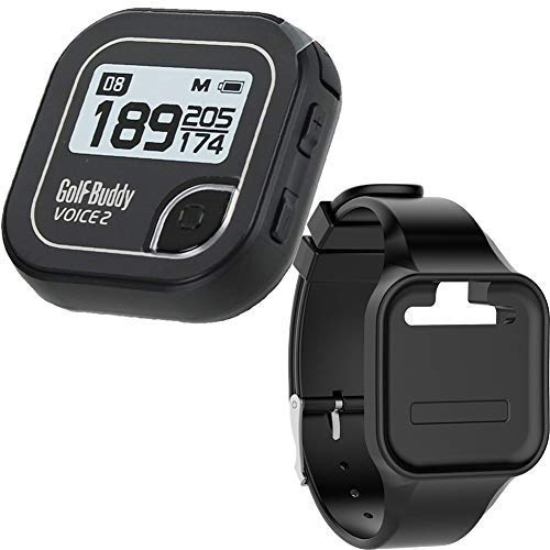 Golf Buddy Bundle Voice 2 Golfbuddy Voice2 Easy-to-Use Talking GPS (Black) + Silicon Wristband (Black)