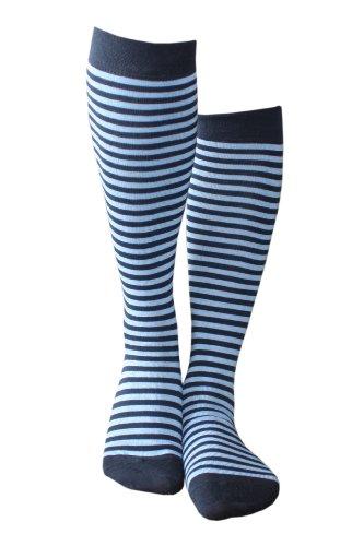 Weri Spezials Ringel - sind immer im Trend! Auch beim Kinderkniestrumpf! in Marine+Mittelblau, Gr.27-30 (5-6 Jahre).